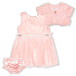 Nannette Baby® Size 18M 2-Piece Lace Dress and Faux Fur Shrug Set in Blush