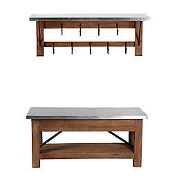 Alaterre Wood and Metal Bench with Open Coat Hook Self in Brown