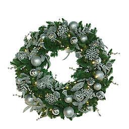 Easy Treezy 30-Inch Pre-Lit Shimmering Frost Wreath in Green