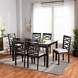 Baxton Studio Fabiola 7-Piece Dining Table and Chairs Set in Grey/Dark Brown