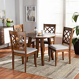 Baxton Studio Connie 5-Piece Oak and Fabric Dining Set in Grey/Walnut Brown