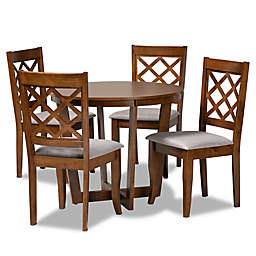 Baxton Studio™ Bonnie 5-Piece Rubberwood and Fabric Dining Set in Grey/Walnut