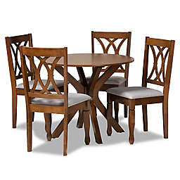 Baxton Studio Nann 5-Piece Dining Set in Grey/Walnut