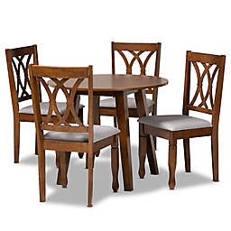 Baxton Studio Larry 5-Piece Dining Set in Grey/Walnut