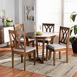 Baxton Studio Ella 5-Piece Oak and Fabric Dining Set in Grey/Walnut Brown