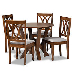 Baxton Studio Lindy 5-Piece Dining Set in Grey/Walnut