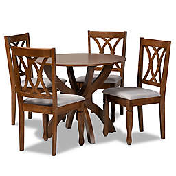 Baxton Studio Tina 5-Piece Dining Set in Grey/Walnut
