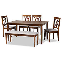 Baxton Studio Satch 6-Piece Dining Set in Grey/Walnut