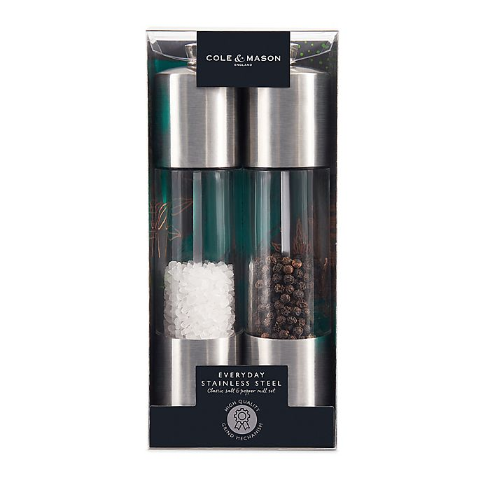 Alternate image 1 for Cole & Mason® Acrylic Salt & Pepper Mill in Stainless Steel (Set of 2)