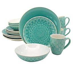 Euro Ceramica Peacock 16-Piece Dinnerware Set in Lagoon