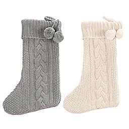 Safavieh Nutmeg Knit Christmas Stockings in Grey/White (Set of 2)