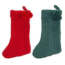 Safavieh Nutmeg Knit Christmas Stockings in Red/Green (Set of 2)
