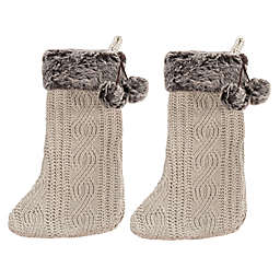 Safavieh Gingerbread Knit Christmas Stockings in Beige (Set of 2)