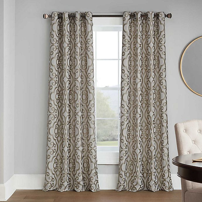 Casual Luxe Talya Scroll Grommet Room, White Room Darkening Curtains Canada