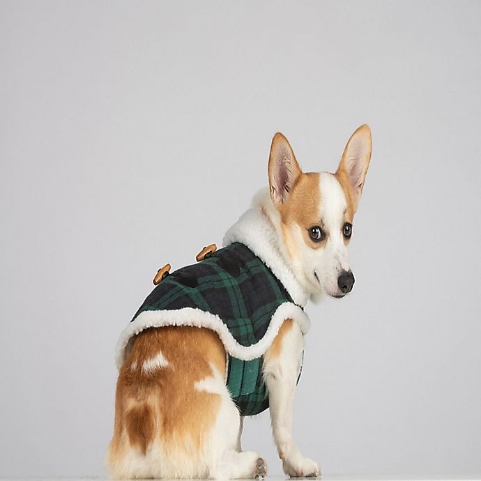 Alternate image 1 for Bee & Willow™ Home Plaid Sherpa Extra Small Dog Coat in Blue