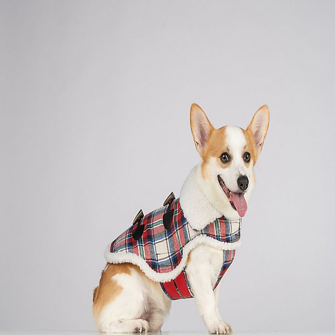 Alternate image 1 for Bee & Willow™ Home Plaid Sherpa Dog Coat