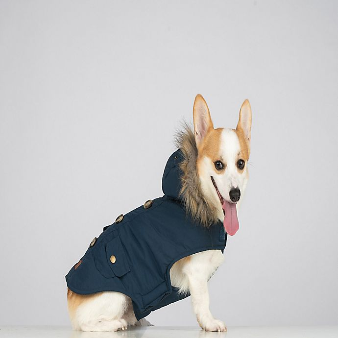 Alternate image 1 for Bee & Willow™ Home Pet Parka with Hood in Blue Plaid