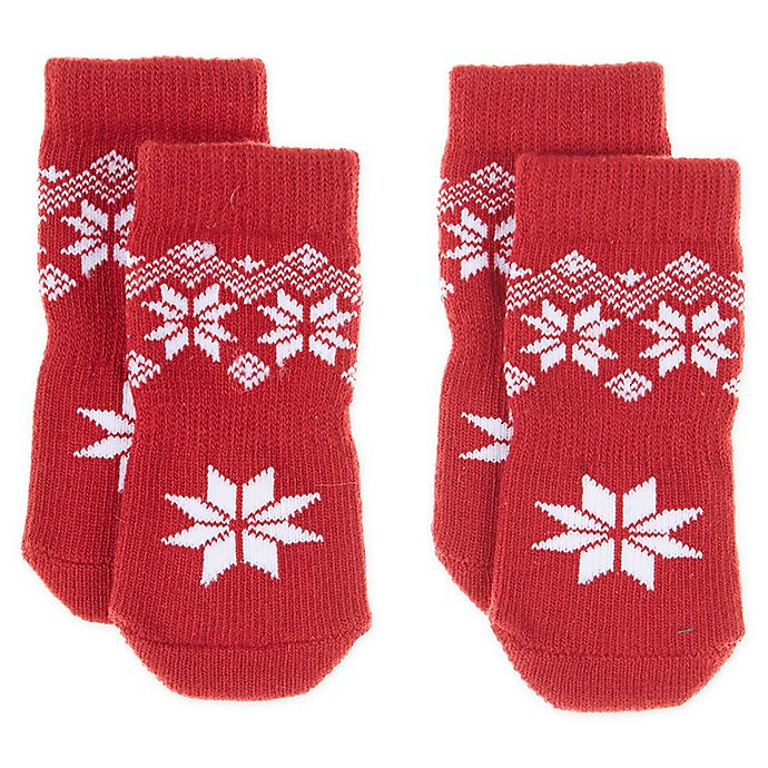 Alternate image 1 for Bee & Willow Home™ Fair Isle Dog Socks in Red