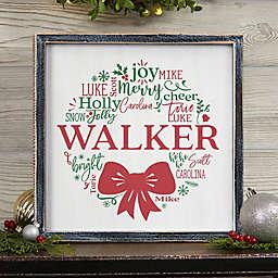 Merry Mistletoe Wreath 12-Inch Square Framed Wall Art in Black