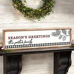 Festive Foliage Personalized 30-Inch x 8-Inch Barnwood Framed Wall Art in White