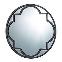 Geometric Round Wall Mirror in Black