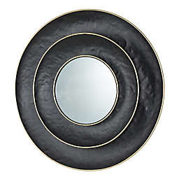 Geometric 27-Inch Round Wall Mirror in Black