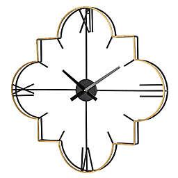 Modern Metal 31.9-Inch Wall Clock in Gold/Black