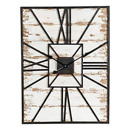 31.5-Inch Farmhouse Wall Clock in White/Black