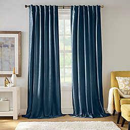 Carnaby Distressed Velvet Rod Pocket Room Darkening Window Curtain Panel