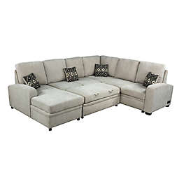 Serta® Aleah Sleeper Sectional Sofa with Charging Station in Beige