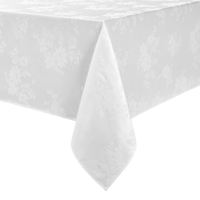 Alternate image 1 for Spring Jubilee Damask 60-Inch x 144-Inch Oblong Tablecloth in White