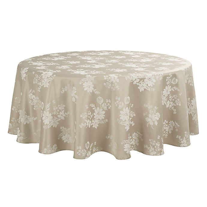 Alternate image 1 for Spring Jubilee Damask 70-Inch Round Tablecloth in Natural
