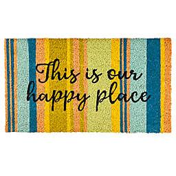"""Evergreen Striped Happy Place 16"""" x 28"""" Coir Door Mat Insert"""