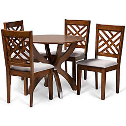 Baxton Studio™ Aliyah 5-Piece Dining Set in Grey/Walnut Brown