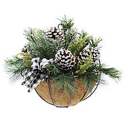 Flora Bunda 13-Inch Christmas Arrangement in Hanging Basket