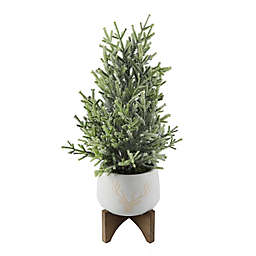 Flora Bunda 1.6-Foot Frosted Pine Artificial Christmas Tree with Stag Ceramic Pot