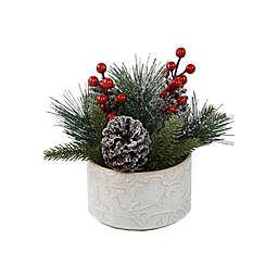 Flora Bunda 8.75-Inch Christmas Arrangement in Patridge Tree Ceramic Pot
