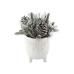 Flora Bunda® Christmas Mix Arrangement with Stag Head Ceramic Pot in White