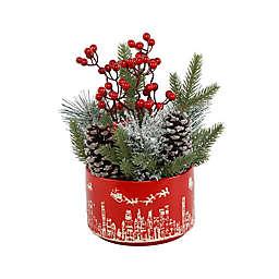 Flora Bunda® Christmas Mix Arrangement with Cityscape Ceramic Pot