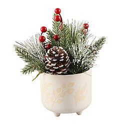 Flora Bunda® Christmas Mix 4.75-Inch Berries Arrangement with Ceramic Pot in White/Multi