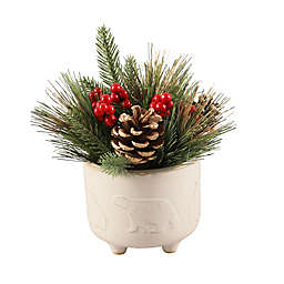 Flora Bunda 7.5-Inch Bears Christmas Mix in White with Ceramic Pot