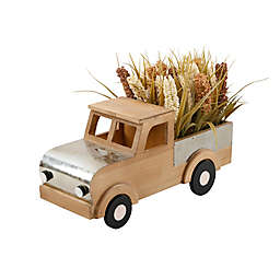 Flora Bunda® Fall Harvest 17.5-Inch Wood Truck Decoration with Wheat Mix in Light Brown