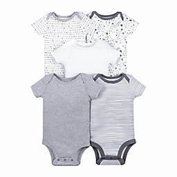Lamaze® Preemie 5-Pack Short Sleeve Bodysuits in Grey/Multi