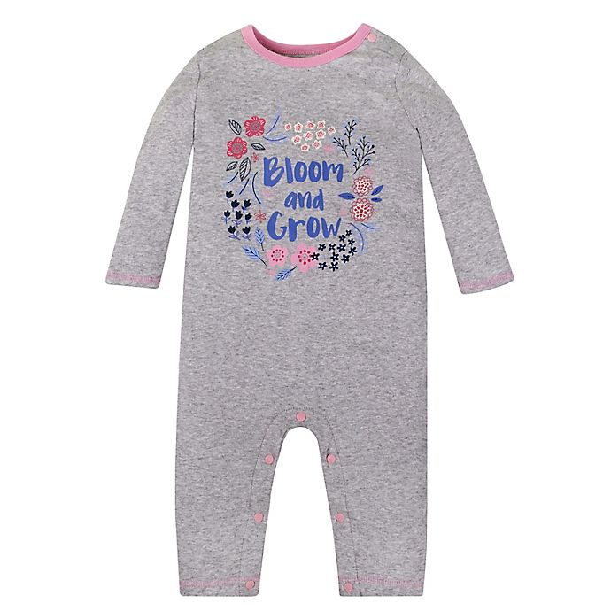 Alternate image 1 for Lamaze® Bloom Organic Cotton Long Sleeve Romper in Grey