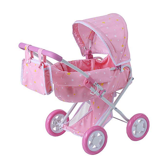 Alternate image 1 for Oliva's Little World Twinkle Stars Princess Deluxe Baby Doll Stroller in Pink/White