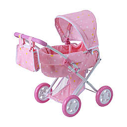 Oliva's Little World Twinkle Stars Princess Deluxe Baby Doll Stroller in Pink/White