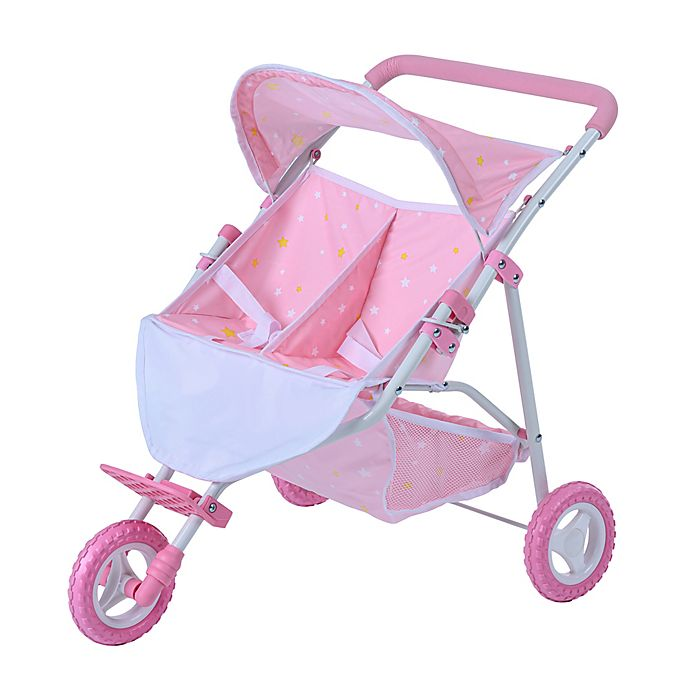 Alternate image 1 for Oliva's Little World Twinkle Stars Princess Deluxe Baby Doll Twin Stroller in Pink/White