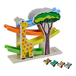 Teamson Preschool 5-Pice Play Lab Safari Animal Ramp Racer & Cars Set