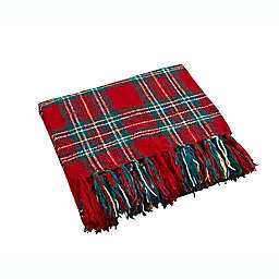 Plaid Chenille Throw Blanket in Red