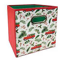 Relaxed Living Holiday Truck 11-Inch Square Collapsible Storage Bin in Red